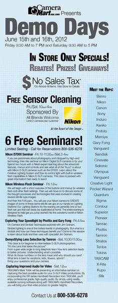 Michigan Photographers Demo Days 2012 Is Back At Camera Mart