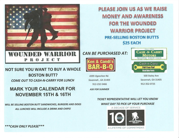 Wounded Warrior Project Fundraiser At Cash N Carry Salvage Yard