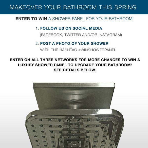 Steam Showers Inc Announces The Win A Shower Panel April Giveaway On Social  Media