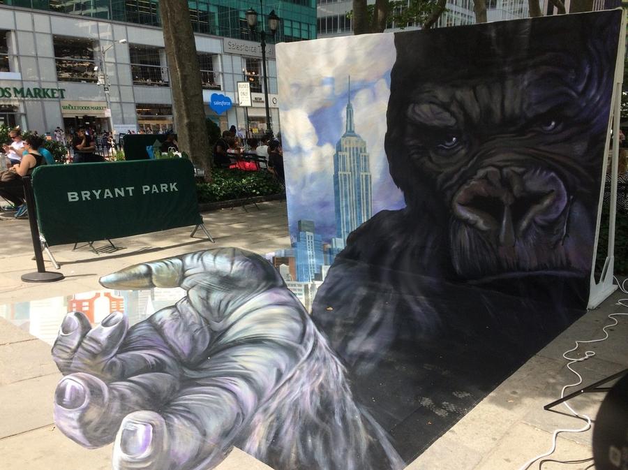 Image Of Anamorphic Chalk Street Art Drawing