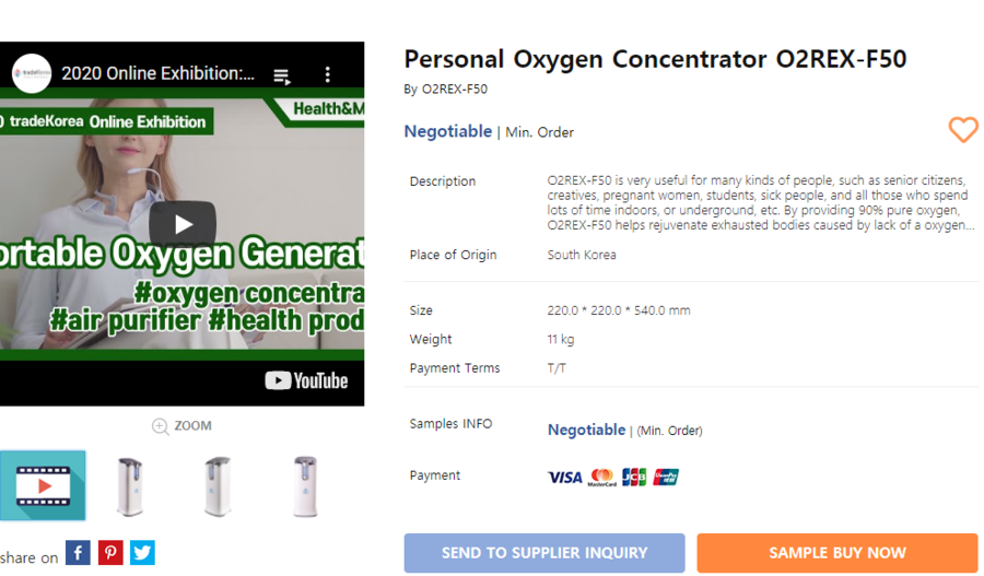 Outstanding Korean Products Introduced at Tradekorea webpage – Oxygen Supplying Device for Better Breathing and Semi-Permanent Mask More Comfortable than Disposable Masks Offered at Health & Medical