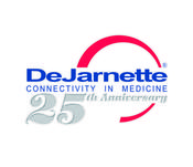 <strong>DeJarnette logo, blue text with red swoosh and &quot;25th year&quot; in silver</strong>