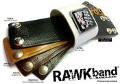 <strong>RAWKband lets you rock out with your clock out! Available in 5 different color leathers, RAWKband is unique in that its low profile design reduces snags & stress on the iPod nano's headphone jack.</strong>