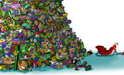 <strong>Color illustration depicting Santa Claus looking up at a huge mountain of toys that towers over his little red sleigh.</strong>