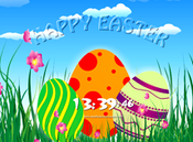 <strong>nfsHappyEaster1 free screensaver features three eggs on a green glade. The eggs change color. The background is a blue sky with white clouds. The screensaver has a sound background which can be muted.</strong>