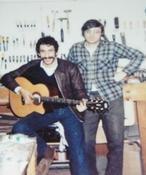 <strong>Dr. Petillo with friend Jim Croce with his Petillo Guitar</strong>