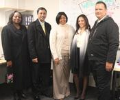 <strong>The First Lady of the Virgin Islands Cecile de Jongh with members of the TABS team at their Cambridge, MA marketing office.</strong>