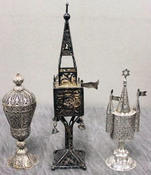 "STERLING. Three Spice Towers. 2 sterling spice towers and one 800 silver filigree tower. Judaica. From a Manhattan, NY estate. Dimensions: 5,"" 5.5"" and 9"" high (est. $400- $600)."