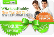 <strong>WorkoutHealthy.com New Year Gift Card Sweepstakes Banner</strong>