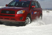 <strong>A Toyota RAV4 maneuvers on GT Radial Champiro IcePro tires on a test course.</strong>