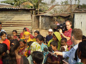 <strong>BBC team filming with Plan's children's group in Bashantek slum, Dhaka</strong>