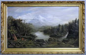 <strong>Signed 19th C. Oil on Canvas Landscape with American Indian Encampments. Signed indecipherably lower left, possibly dated.</strong>