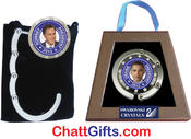 <strong>President Obama and Mitt Romney Campaign Collectible handbag holders with Swarovski crystals in gift boxes</strong>