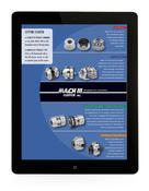 <strong>Mach III Clutch, Inc. catalog shown in the frame of a black tablet computer.</strong>