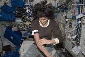 <strong>Commander Sunita Williams performs a blood draw for the Nutrition Status Assessment (Nutrition) experiment in the Columbus laboratory module, during Expedition 33. (NASA)</strong>