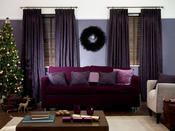 <strong>Dark opulent plum shades married with chocolate brown shaded venetian blinds.</strong>