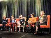 <strong>(l to r) Barbara Kasoff, Pres.,WIPP; Susan Sobbott, Pres.,AmEx OPEN;Chrystia Freeland,Editor, Thomson Reuters Digital;Lisa Price, Carol's Daughter and WBDC client, Amy Davis,Founder,Kiss-u Corps.</strong>