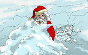<strong>Santa Claus looked like a snowman after his exhausted reindeer ran out of gas and the sleigh landed in a snowbank.</strong>