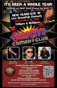 Poster advertising New Year's Eve show at Surf City Comedy Club