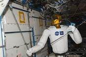 <strong>Robonaut - one of the many investigations students researched for the ISS Science Challenge - measuring air velocity with the Velocicalc instrument, in the U.S. Laboratory during Expedition 30. (NASA)</strong>