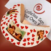 <strong>Hand-dipped in fine white Belgian Chocolate and embellished with edible cherubs, hearts and sprinkles. Your personalized message goes on the foot-long fortune inside! Find it at Arttowngifts.com.</strong>