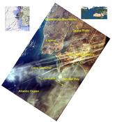 <strong>A photo of contrails over Lisbon, Portugal, as seen from the space station. This picture was taken as part of the Earth Knowledge Acquired by Middle school students (EarthKAM) mission. (EarthKAM)</strong>