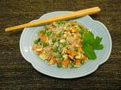 <strong>Skinny Fried Rice made with 0 calorie, low carb Skinny Rice Shirataki (available at getskinnynoodles.com)</strong>