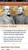 Sample content from the Appomattox Civil War Battle App
