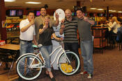 <strong>1st Class Medical celebrates their silent auction victory. A cruiser bike!</strong>