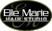 <strong>Logo for Elle Marie Hair Studio featuring oval background.</strong>
