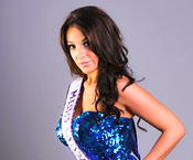 <strong>Miss Delaware International Crystal Rush is a blue cocktail dress</strong>