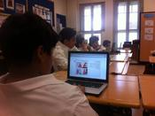 <strong>This picture also shows students taking Avant Assessment's Arabic Proficiency Test at Qatar Academy.</strong>