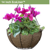 <strong>EcoLiner is a new basket liner for hanging flower baskets that keeps plant moist longer and its color doesn't fade in the sun. It has a smooth, elegant surface made of recyclable materials. USA made.</strong>
