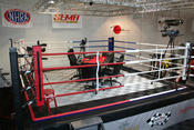 <strong>Project All In's feature table sits inside the boxing ring at Kwan International at the Las Vegas Motor Speedway.</strong>