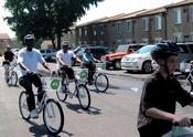 <strong>Korman Residential staff and residents enjoying the first ride on the LIVEKORMAN Bike Share bicycles.</strong>