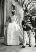<strong>Prince Rainier III & Princess Grace following the official exchange of their marriage vows, April 19, 1956. © Archives of the Princely Palace of Monaco - F. Detaille</strong>