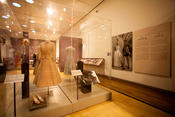 <strong>The exhibition traces Grace Kelly's romance with Prince Rainier. It showcases the outfit she wore for her civil ceremony. The beige lace and dusty rose silk suit was designed by Helen Rose.</strong>