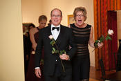 <strong>HSH Prince Albert of Monaco enters the Michener gala held in honor of the royal visit for the opening of the Grace Kelly exhibit with Lisa Hanover, director, James A. Michener Art Museum.</strong>