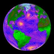 <strong>False-color image of ocean wind speeds as measured by NASA's QuikScat satellite. Image Credit: NASA/JPL-Caltech</strong>