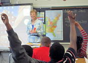 <strong>Gail Hedrick answers questions at a school author visit</strong>