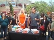 <strong>Celeste Hilling with Mario Lopez from eNews</strong>