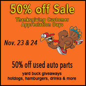 <strong>Thanksgiving Customer Appreciation Days at Savannah salvage yard</strong>