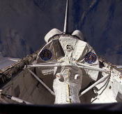 <strong>View of Spacelab-1 module in space shuttle Columbia's payload bay during STS-9. Image Credit: NASA</strong>