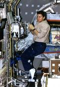 <strong>NASA astronaut Cady Coleman supports a protein crystal growth study aboard STS-73 in the Spacelab module in 1995. Image Credit: NASA</strong>