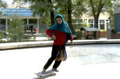 <strong>Fazilla skateboarding an empty fountain in Kabul</strong>