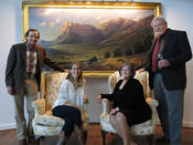 <strong>Philip and Amy Lang, owners of the &quot;White House&quot; & Jerry and Lyla Malzahn, owners of Balcony House Gallery with Jerry's rendition of El Capitan in the painting, &quot;Guadalupe Shadows&quot;</strong>