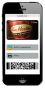 <strong>Tim Hortons eGift Card on a phone</strong>