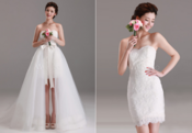 <strong>wedding gowns that are short in the front and long at the back</strong>