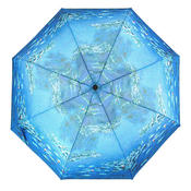 The famous Water Lilies painting by Claude Monet is reproduced on the canopy of this auto open umbrella.