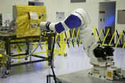 <strong>Located at the Kennedy Space Center but commanded from Goddard, the RROxiTT industrial robot mimicked how future space robots could transfer oxidizer to a satellite valve. Image Credit: NASA</strong>